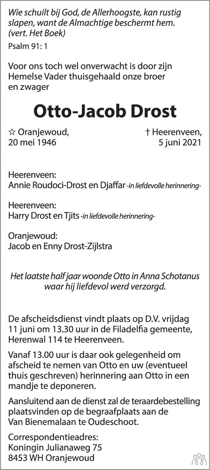 Overlijdensbericht van Otto-Jacob Drost in Leeuwarder Courant
