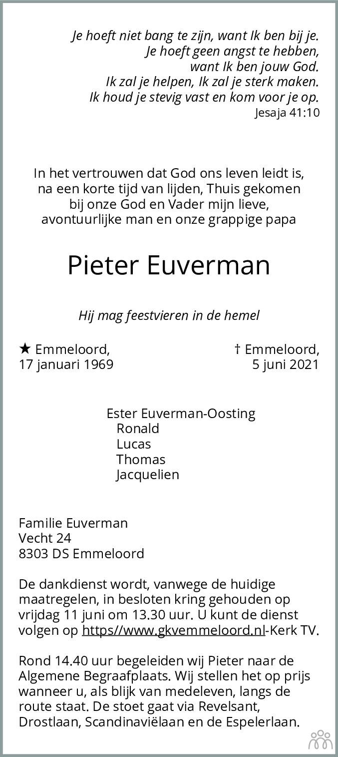 Overlijdensbericht van Pieter Euverman in Flevopost Dronten