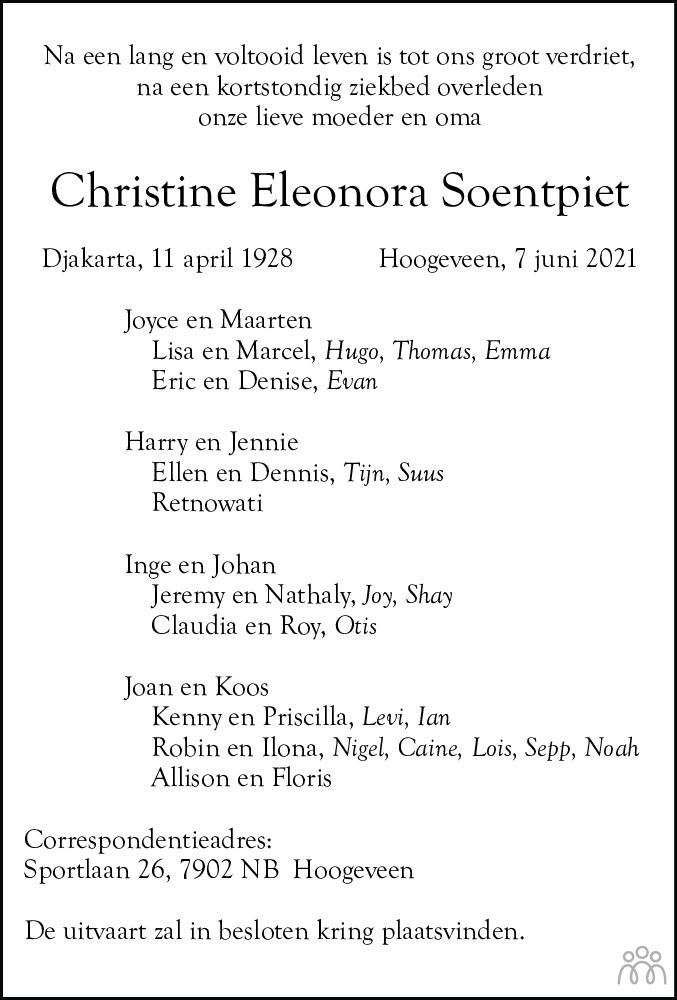 Overlijdensbericht van Christine Eleonora Soentpiet in Hoogeveensche Courant