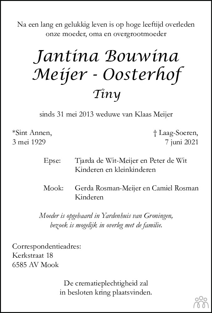Overlijdensbericht van Jantina Bouwina (Tiny) Meijer-Oosterhof in Dagblad van het Noorden