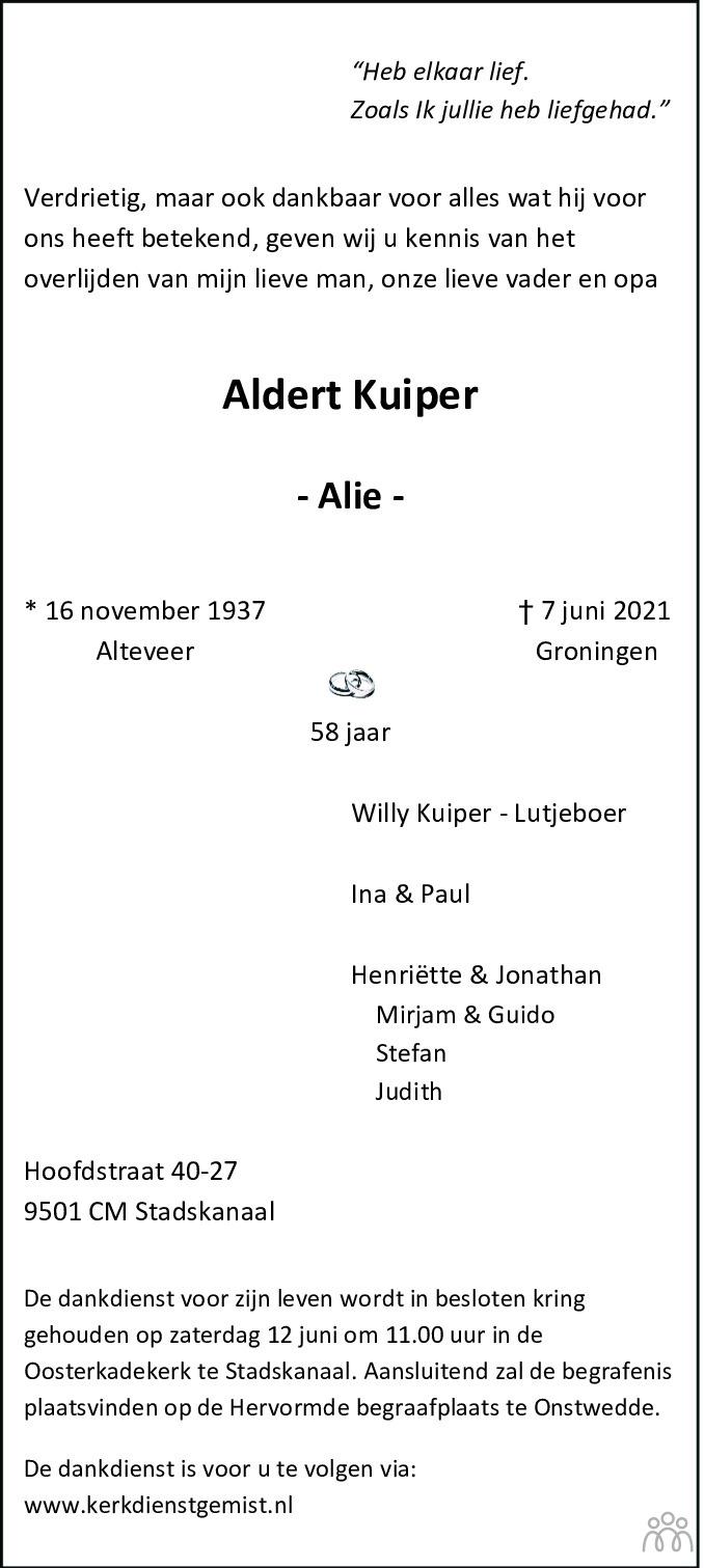 Overlijdensbericht van Aldert (Alie) Kuiper in Kanaalstreek Ter Apeler Courant