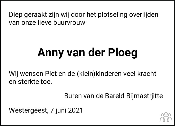 Overlijdensbericht van Anny van der Ploeg-van der Pas in Dockumer Courant
