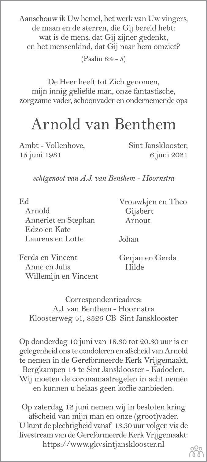 Overlijdensbericht van Arnold van Benthem in Noordoostpolder