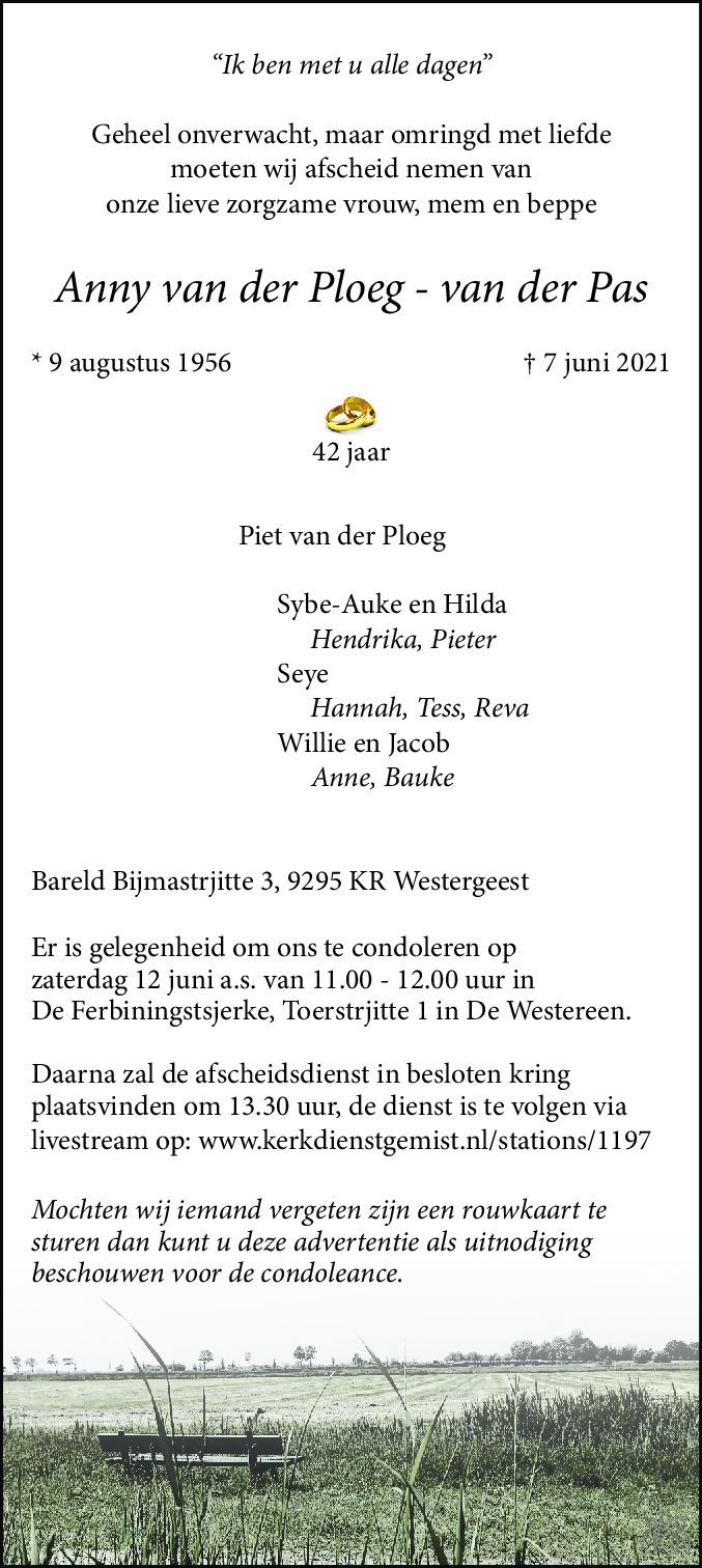 Overlijdensbericht van Anny van der Ploeg-van der Pas in Leeuwarder Courant