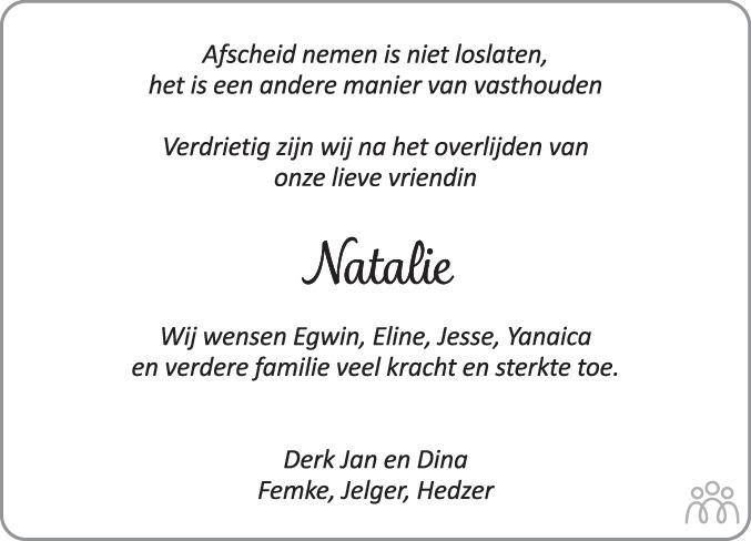 Overlijdensbericht van Natalie Roffel-Weil in Noordoostpolder