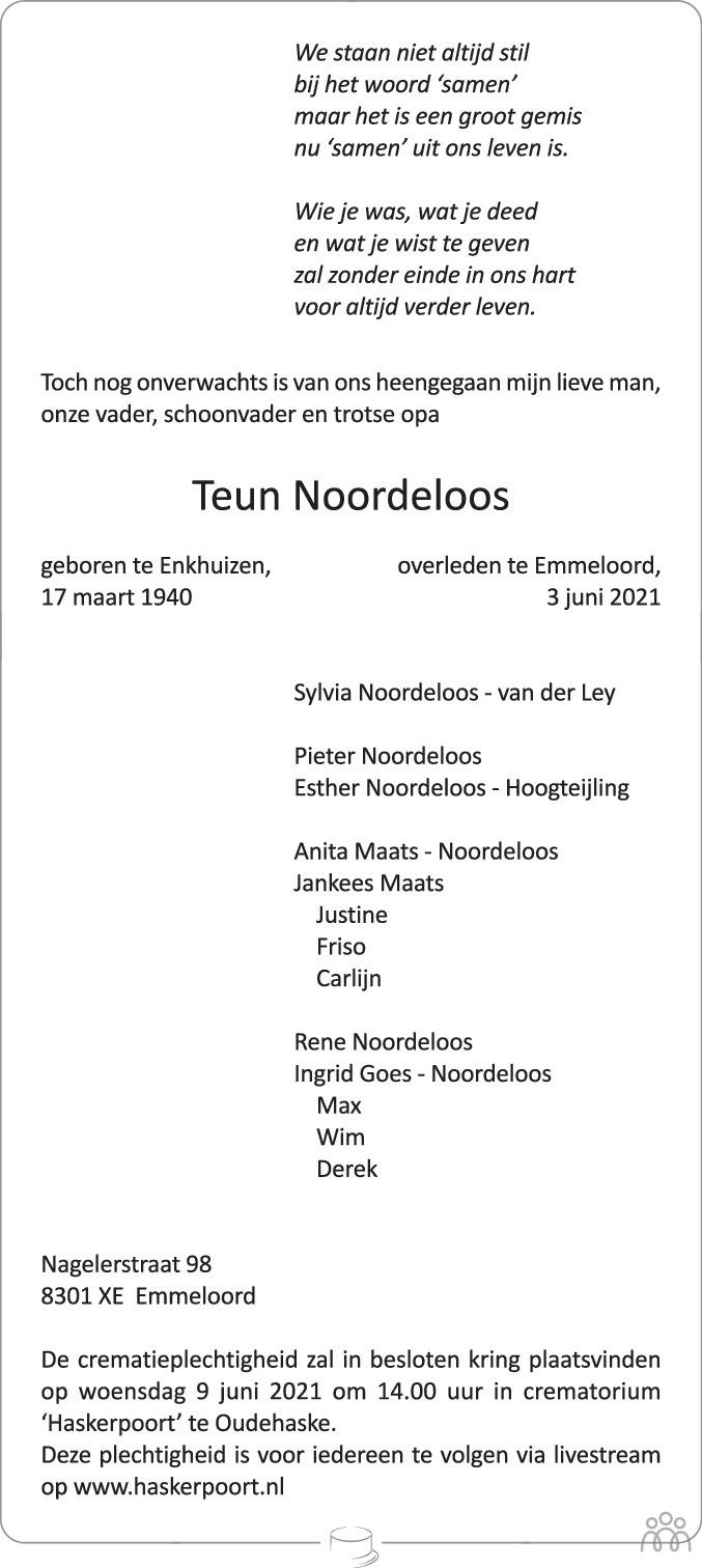 Overlijdensbericht van Teun Noordeloos in Noordoostpolder