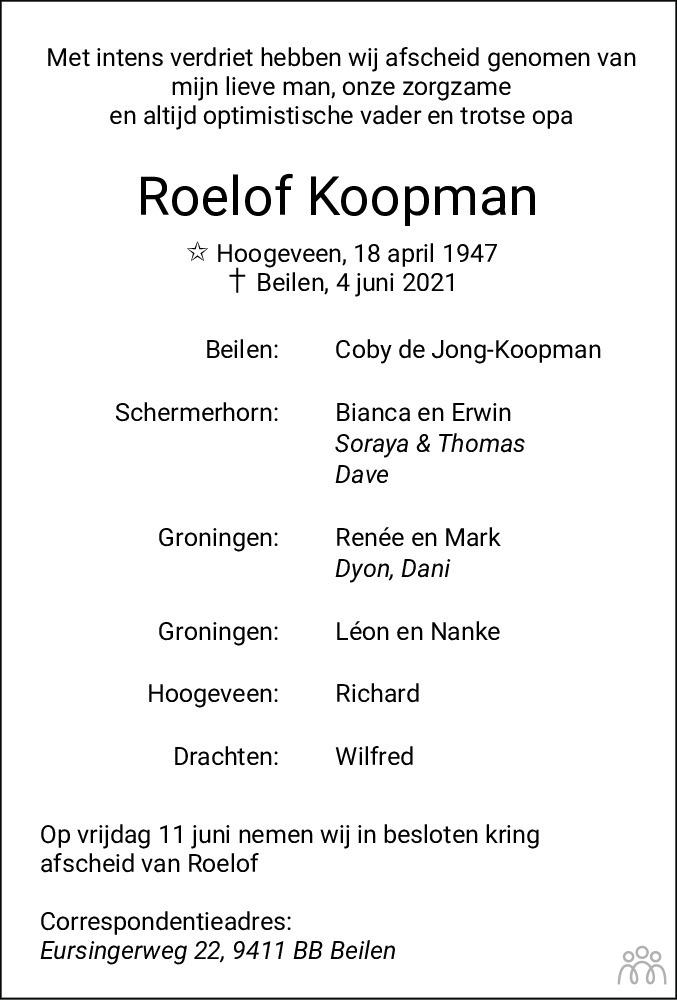 Overlijdensbericht van Roelof Koopman in Dagblad van het Noorden
