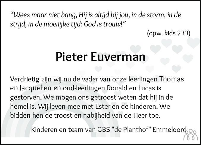 Overlijdensbericht van Pieter Euverman in Noordoostpolder