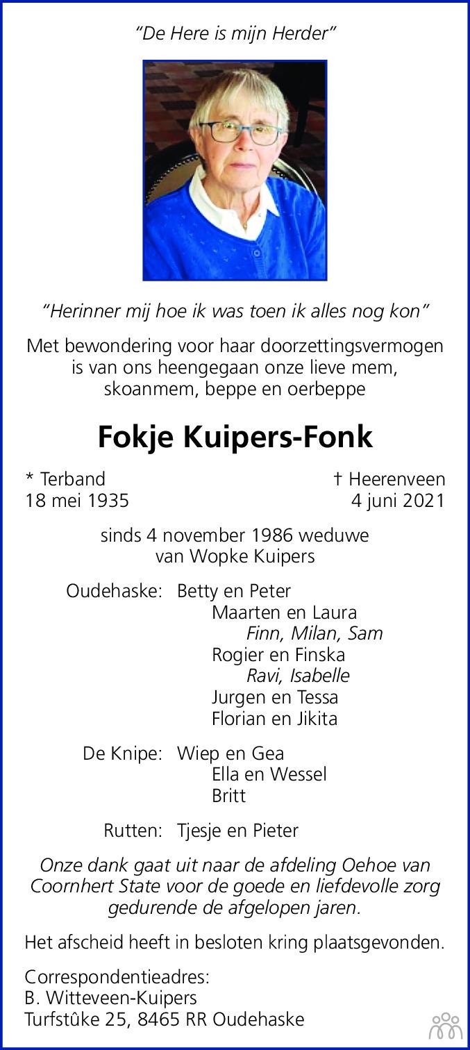 Overlijdensbericht van Fokje Kuipers-Fonk in Leeuwarder Courant