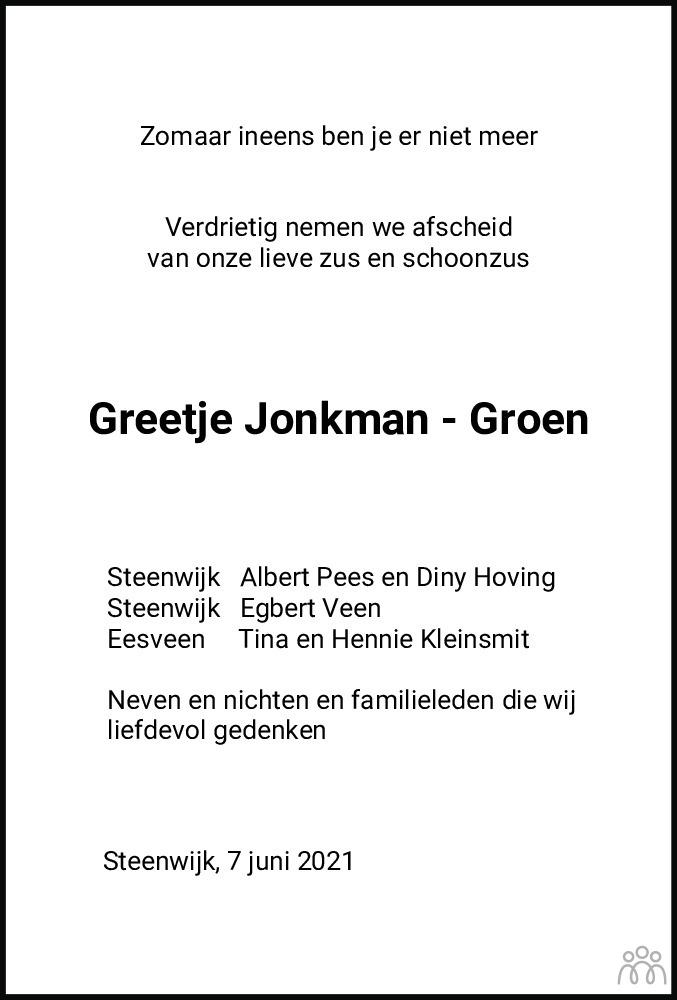 Overlijdensbericht van Grietje Jacoba (Greetje) Jonkman-Groen in Meppeler Courant