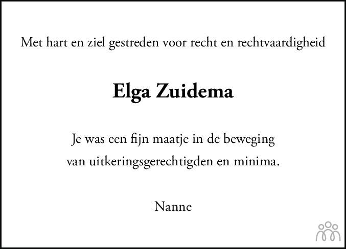 Overlijdensbericht van Elga Zuidema in Leeuwarder Courant