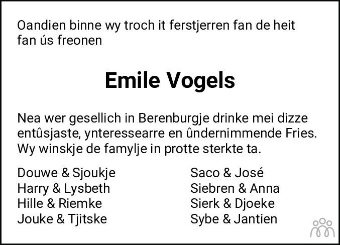 Overlijdensbericht van Emile Leonard Vogels in Leeuwarder Courant