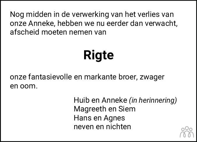 Overlijdensbericht van Geert Rigte Hilbrandie in Dagblad van het Noorden