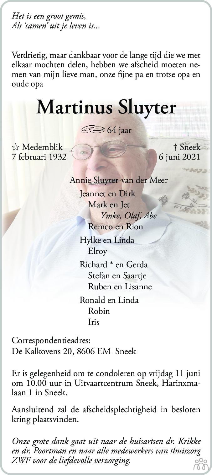 Overlijdensbericht van Martinus Sluyter in Leeuwarder Courant