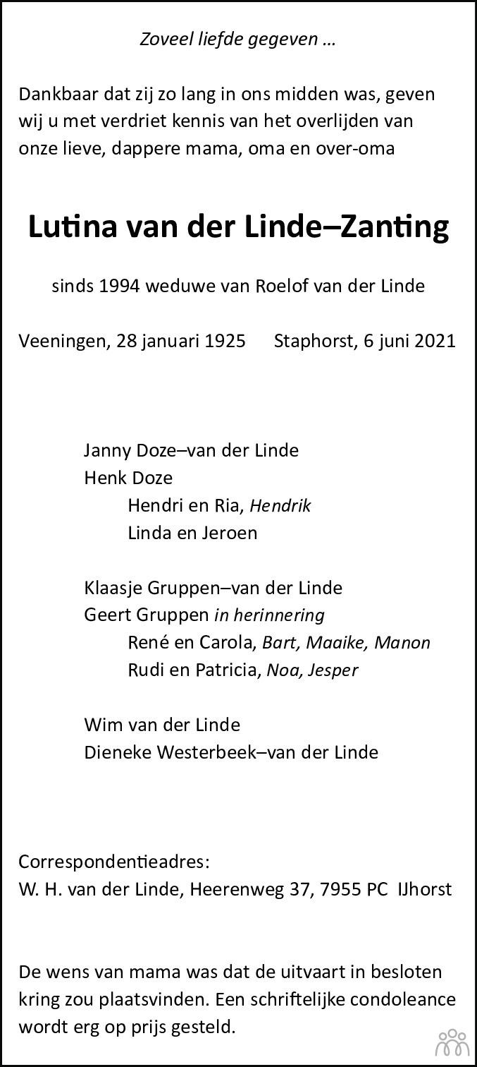 Overlijdensbericht van Lutina van der Linde–Zanting in Meppeler Courant