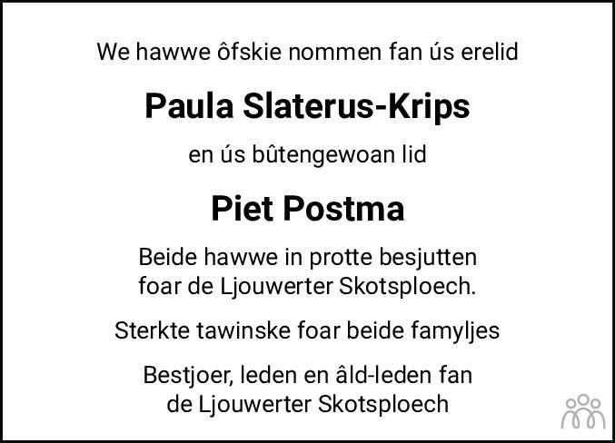 Overlijdensbericht van Paula Geertje Slaterus-Krips in Leeuwarder Courant