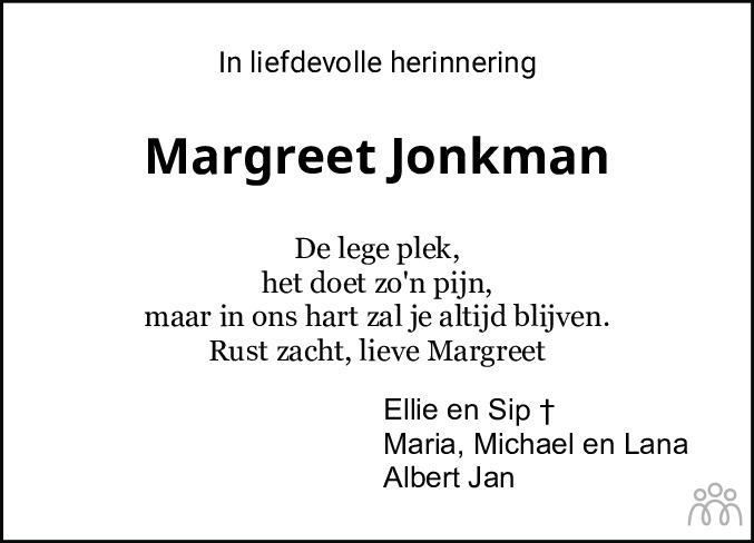 Overlijdensbericht van Margreet Jonkman in Meppeler Courant