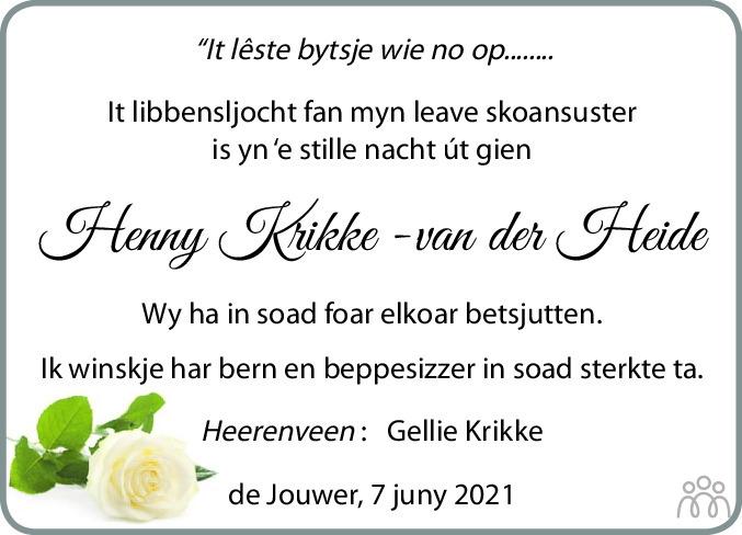 Overlijdensbericht van Hendrikje (Henny) Krikke-van der Heide in Leeuwarder Courant