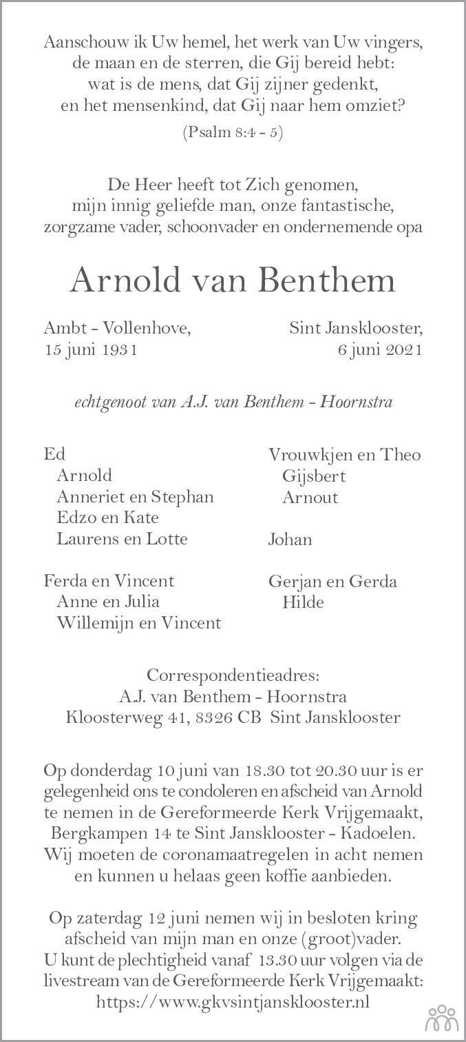 Overlijdensbericht van Arnold van Benthem in Meppeler Courant