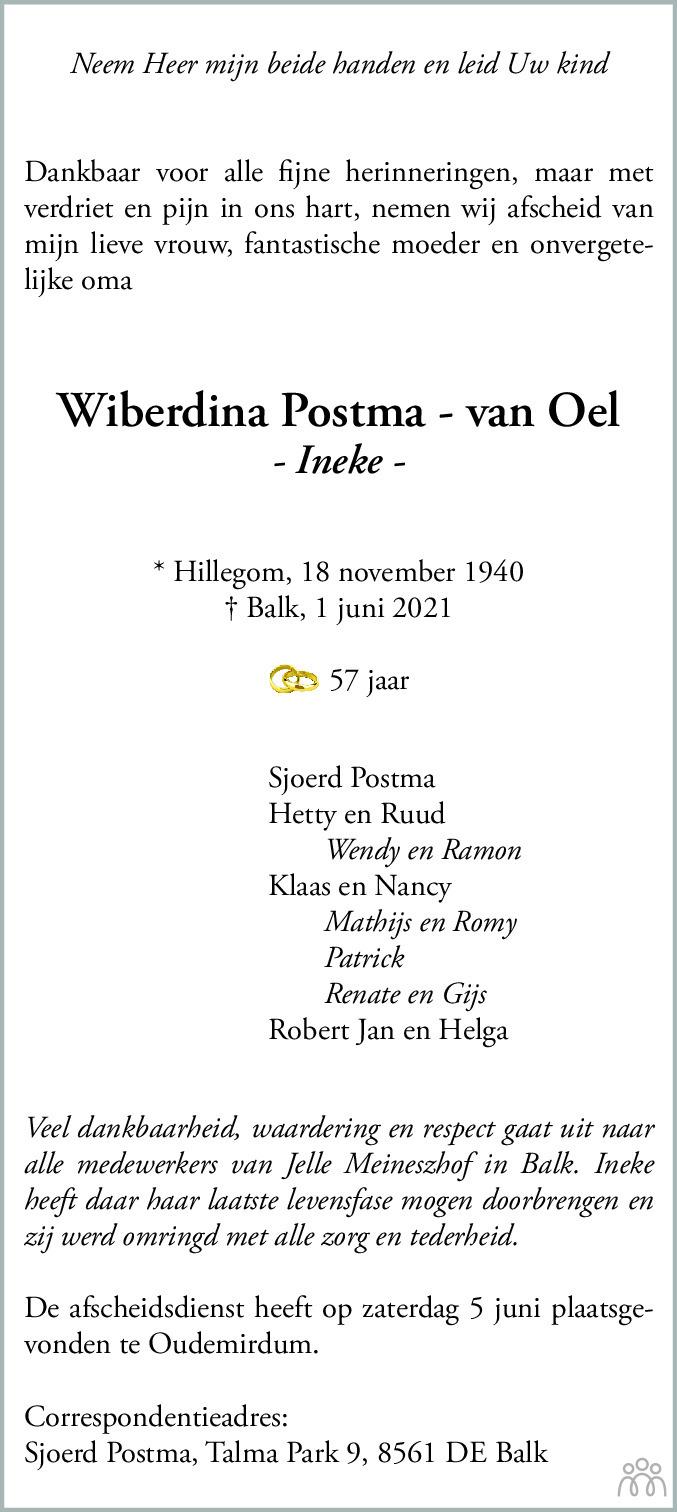 Overlijdensbericht van Wiberdina (Ineke) Postma-van Oel in Balkster Courant