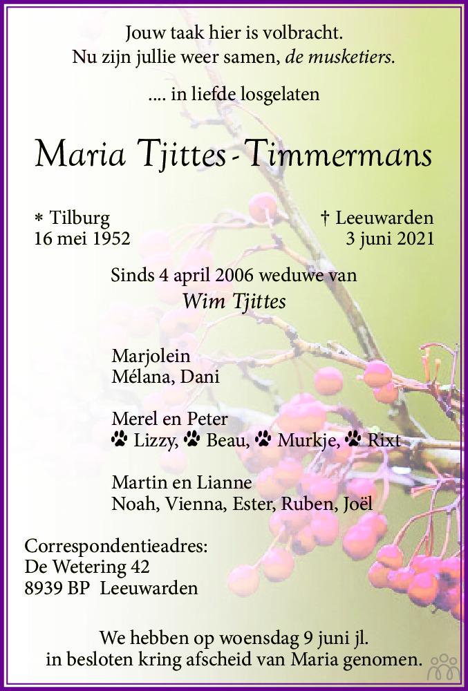 Overlijdensbericht van Maria Tjittes-Timmermans in Leeuwarder Courant