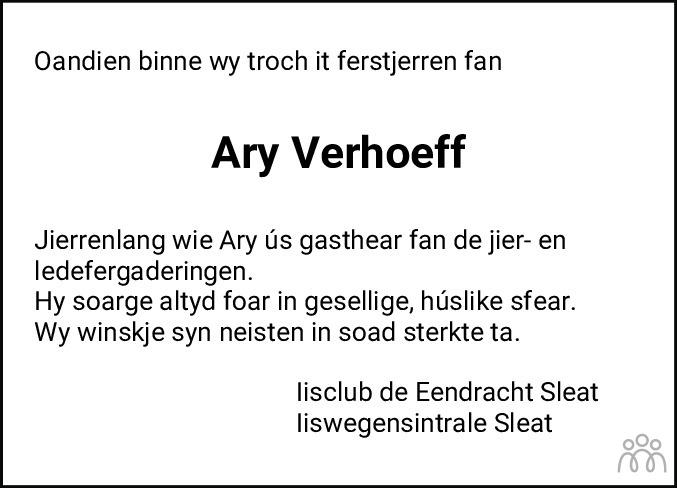 Overlijdensbericht van Ary Wiebren Verhoeff in Balkster Courant