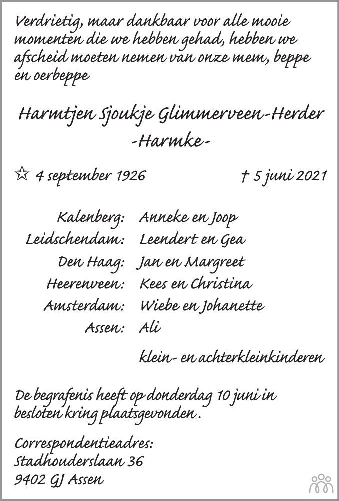 Overlijdensbericht van Harmke (Harmtjen Sjoukje) Glimmerveen-Herder in Heerenveense Courant