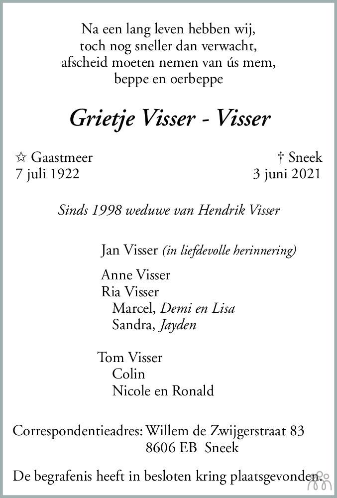 Overlijdensbericht van Grietje Visser-Visser in Leeuwarder Courant