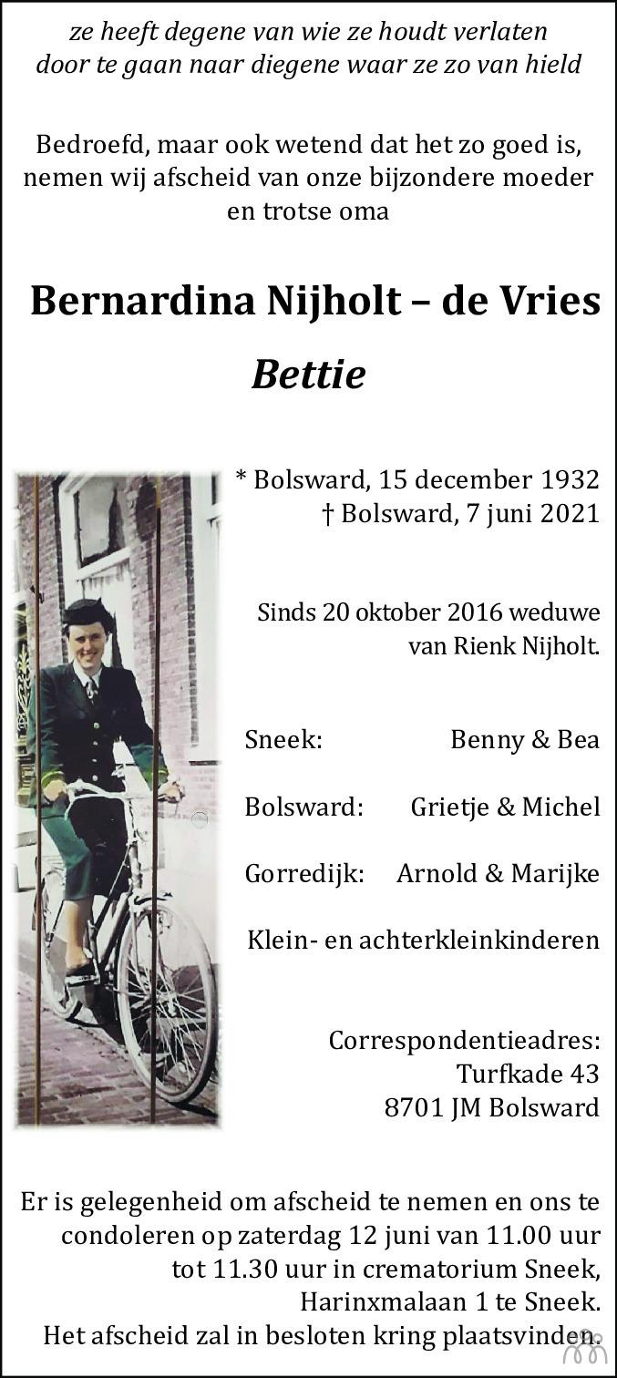 Overlijdensbericht van Bernardina (Bettie) Nijholt-de Vries in Leeuwarder Courant