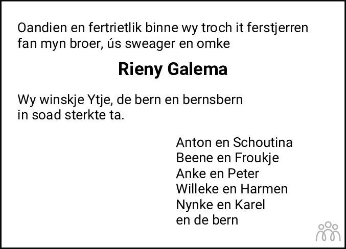 Overlijdensbericht van Reinerus Yme Maria (Rieny) Galema in Bolswards Nieuwsblad