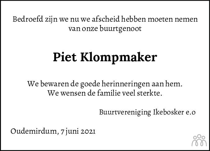 Overlijdensbericht van Pieter (Piet) Klompmaker in Balkster Courant