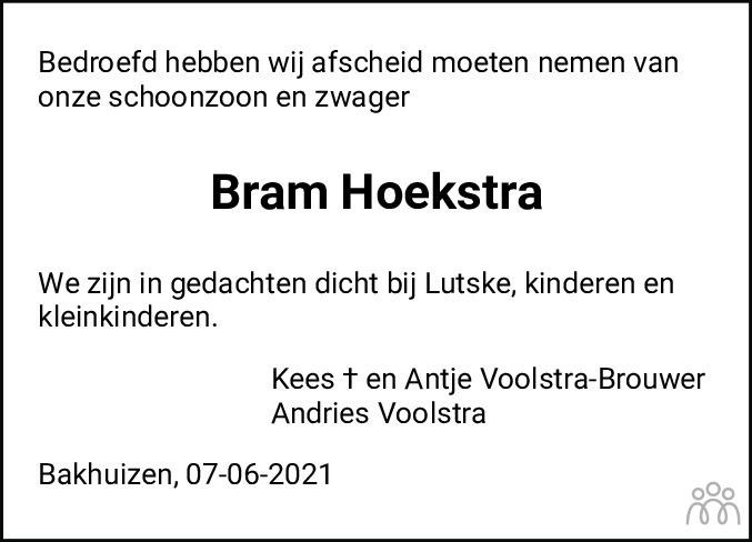 Overlijdensbericht van Abraham (Bram) Hoekstra in Leeuwarder Courant