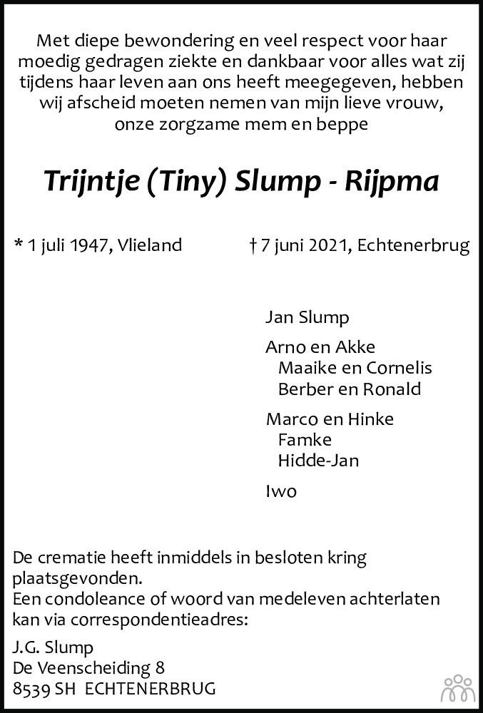 Overlijdensbericht van Trijntje (Tiny) Slump-Rijpma in Leeuwarder Courant
