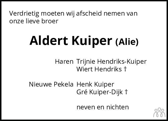 Overlijdensbericht van Aldert (Alie) Kuiper in Dagblad van het Noorden