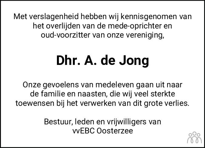 Overlijdensbericht van Anne de Jong in Jouster Courant Zuid Friesland