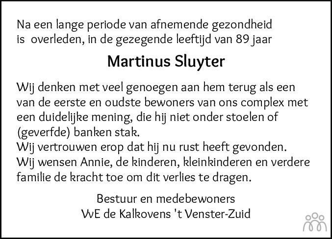 Overlijdensbericht van Martinus Sluyter in Sneeker Nieuwsblad