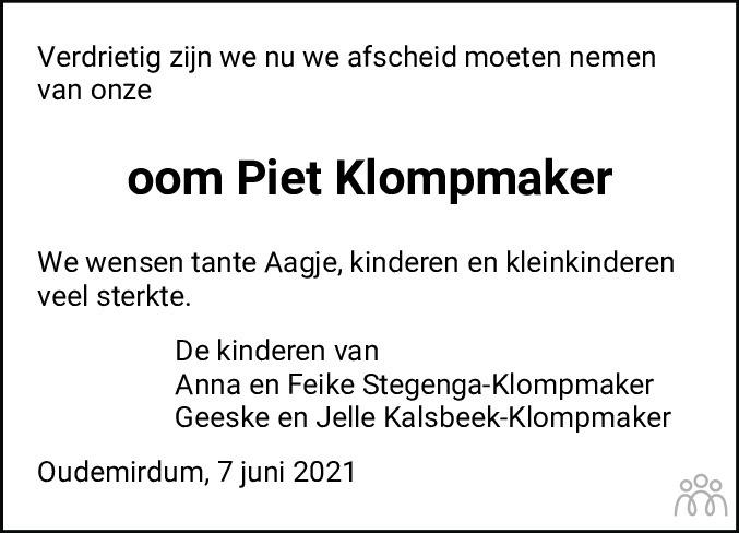 Overlijdensbericht van Pieter (Piet) Klompmaker in Sneeker Nieuwsblad