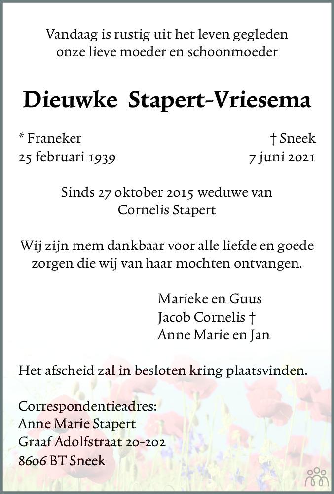 Overlijdensbericht van Dieuwke Stapert-Vriesema in Leeuwarder Courant