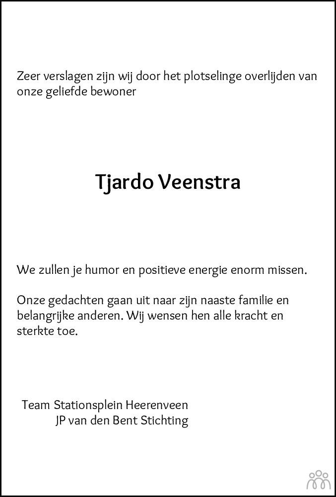 Overlijdensbericht van Tjardo Veenstra in Heerenveense Courant