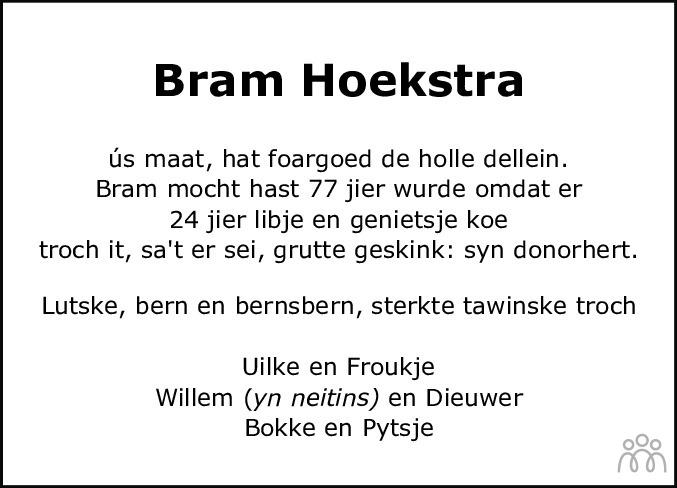 Overlijdensbericht van Abraham (Bram) Hoekstra in Balkster Courant
