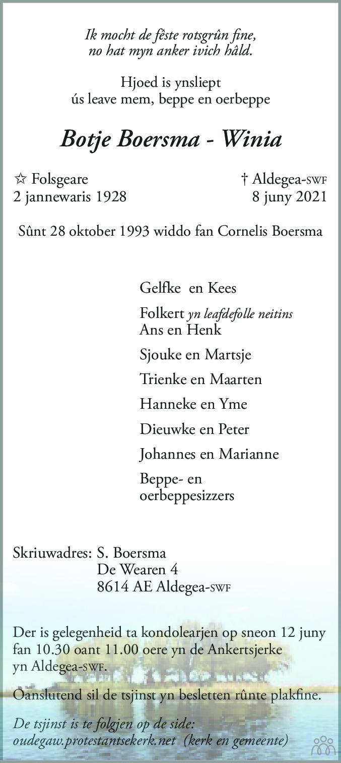 Overlijdensbericht van Botje (Botsy) Boersma-Winia in Leeuwarder Courant