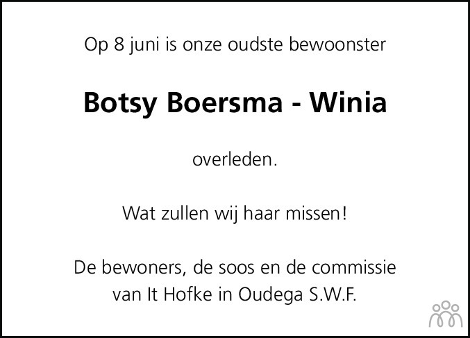 Overlijdensbericht van Botje (Botsy) Boersma-Winia in Bolswards Nieuwsblad