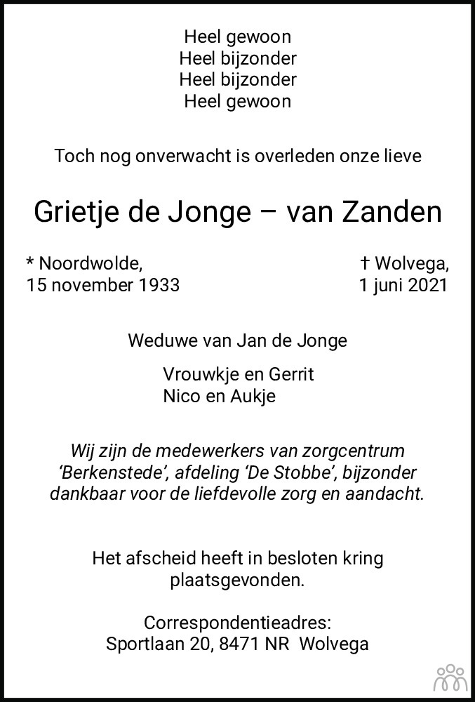 Overlijdensbericht van Grietje de Jonge-van Zanden in De Stellingwerf