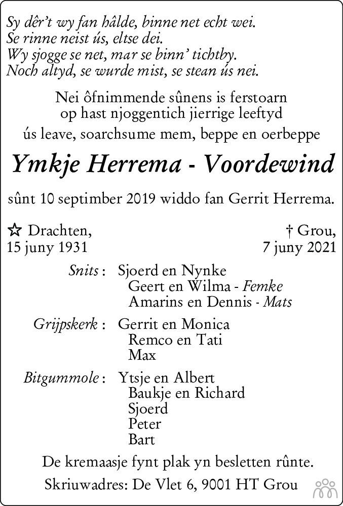 Overlijdensbericht van Ymkje Herrema-Voordewind in Leeuwarder Courant