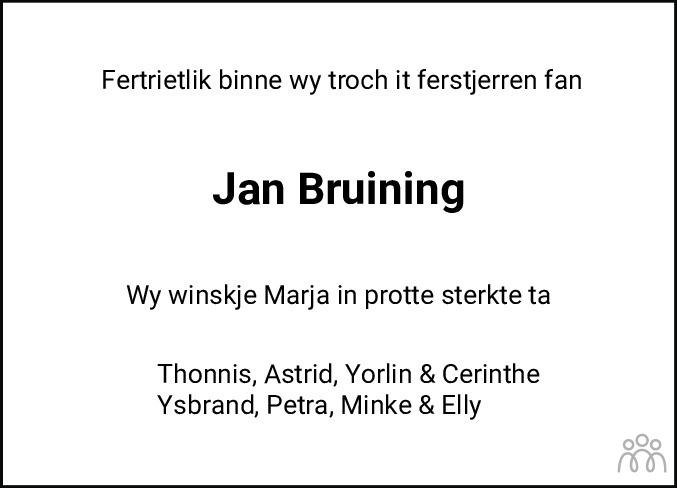 Overlijdensbericht van Jan Bruining in Leeuwarder Courant