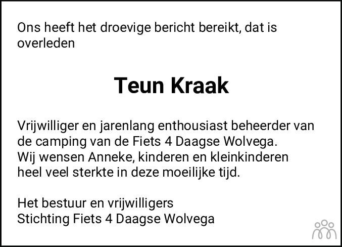 Overlijdensbericht van Teunis (Teun) Kraak in De Stellingwerf