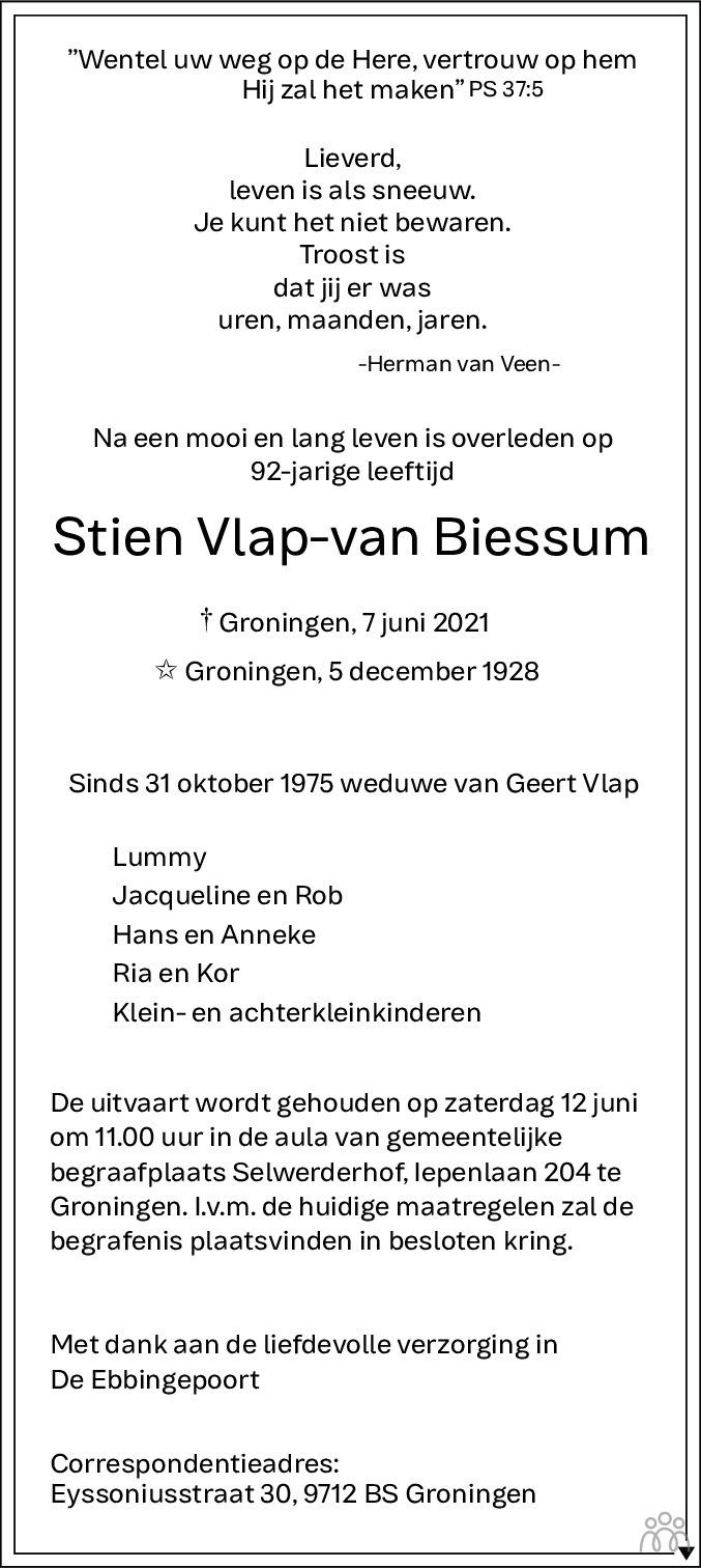 Overlijdensbericht van Stien Vlap-van Biessum in Dagblad van het Noorden
