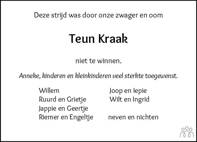 Overlijdensbericht van Teunis (Teun) Kraak in Leeuwarder Courant