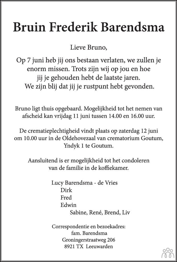 Overlijdensbericht van Bruin Frederik Barendsma in Leeuwarder Courant