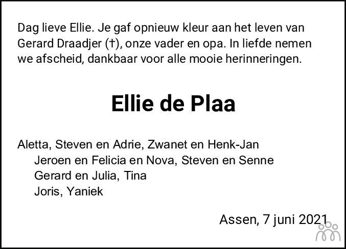 Overlijdensbericht van Engeltje (Ellie) de Plaa-Nanninga in Dagblad van het Noorden